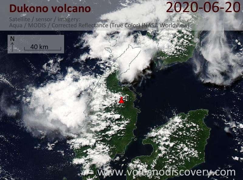 Satellite image of Dukono volcano on 21 Jun 2020
