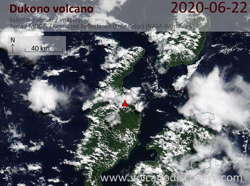 Satellite image of Dukono volcano on 22 Jun 2020