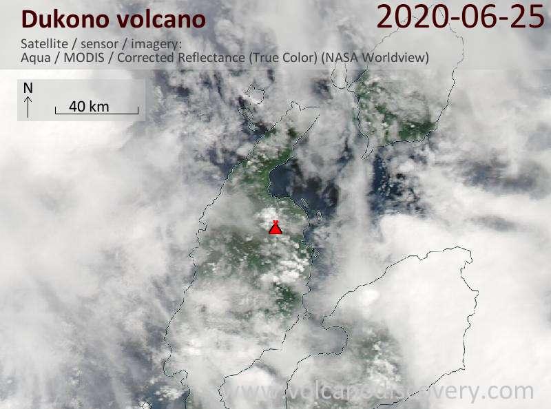 Satellite image of Dukono volcano on 25 Jun 2020