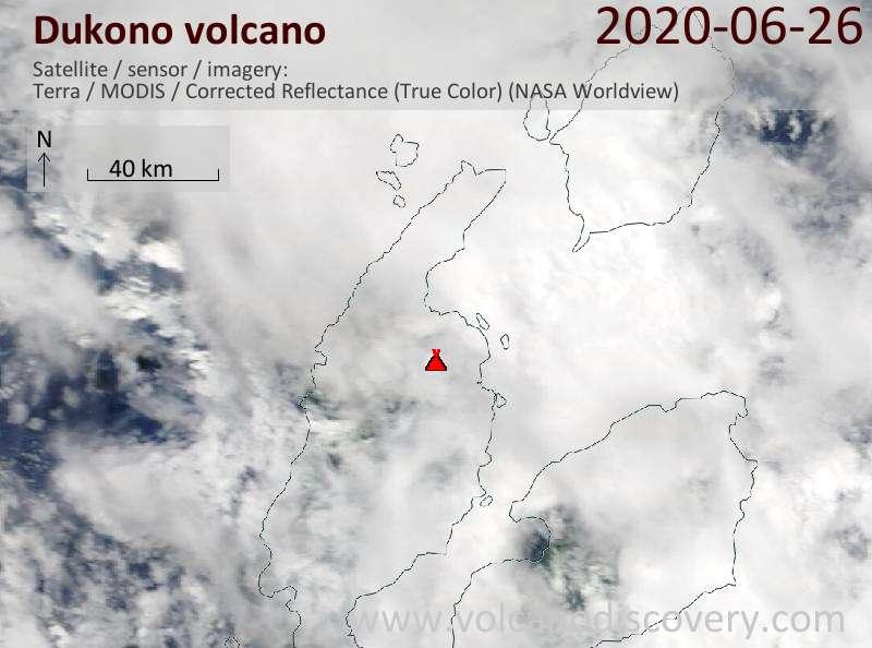 Satellite image of Dukono volcano on 26 Jun 2020