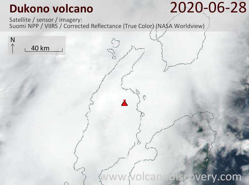 Satellite image of Dukono volcano on 28 Jun 2020