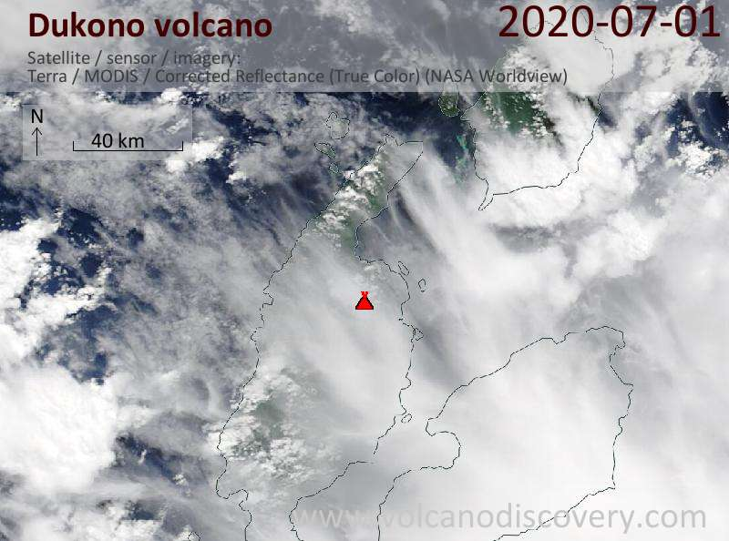 Satellite image of Dukono volcano on  1 Jul 2020