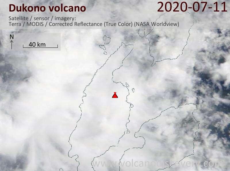Satellite image of Dukono volcano on 11 Jul 2020