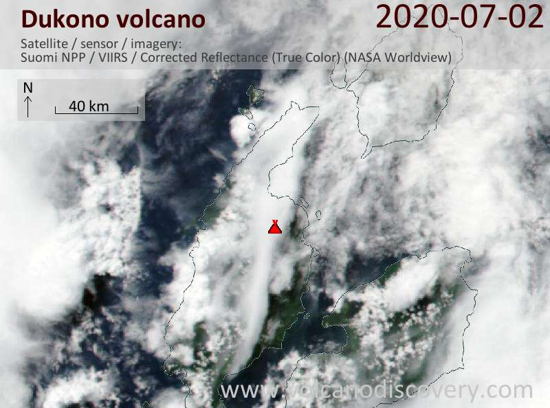 Satellite image of Dukono volcano on  2 Jul 2020