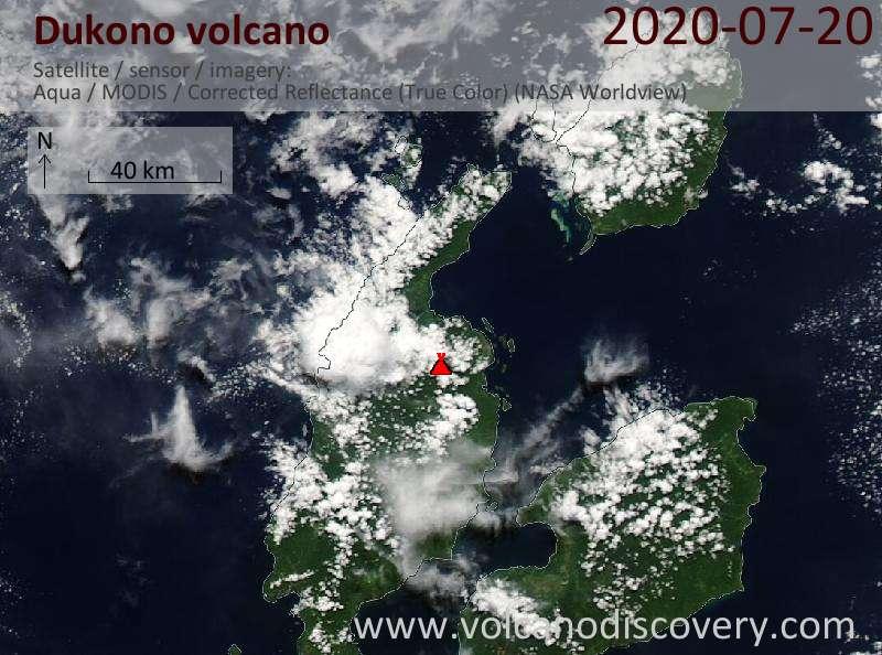 Satellite image of Dukono volcano on 20 Jul 2020