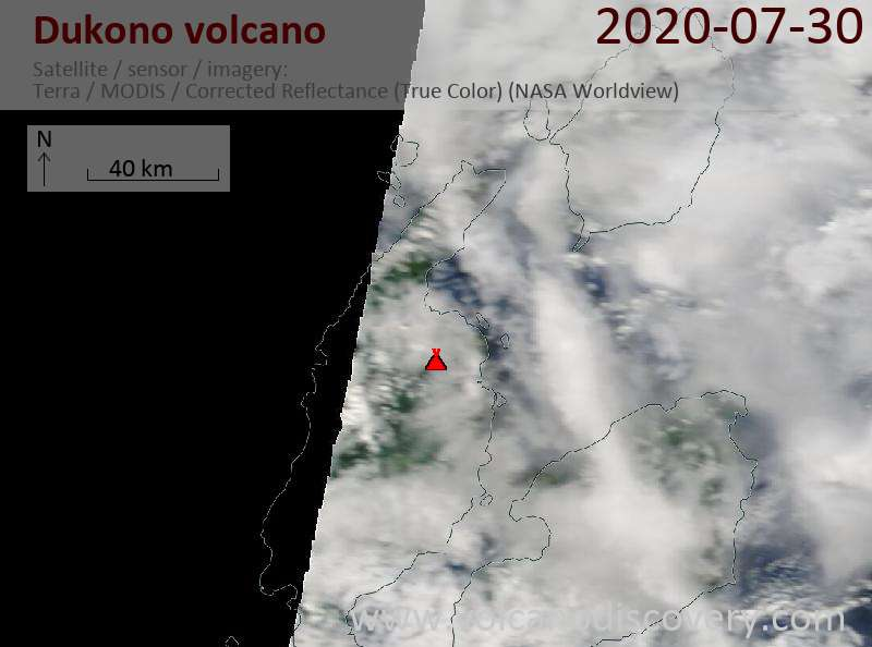 Satellite image of Dukono volcano on 30 Jul 2020