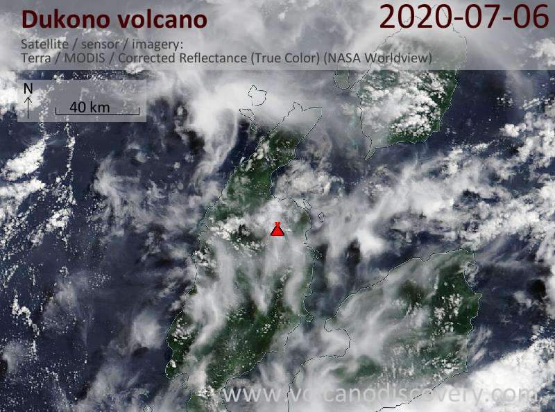 Satellite image of Dukono volcano on  6 Jul 2020