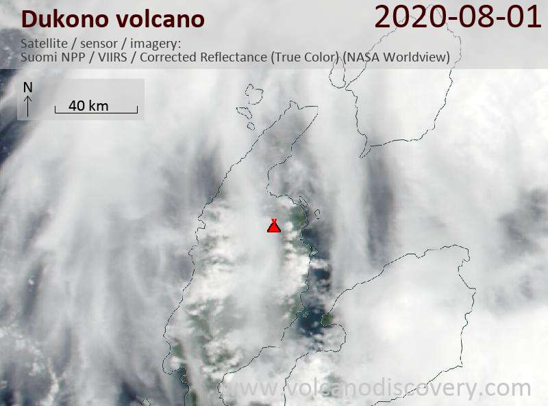 Satellite image of Dukono volcano on  1 Aug 2020