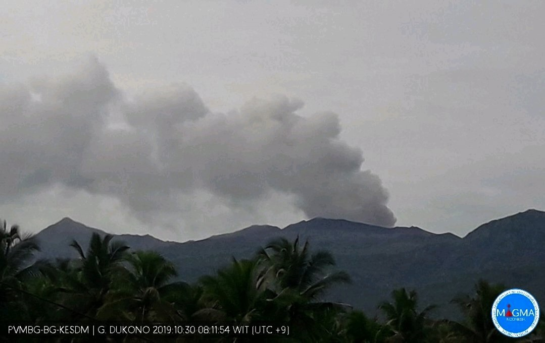 Ash plume visible from Dukono volcano on 30 October 2019 (image: PVMBG)