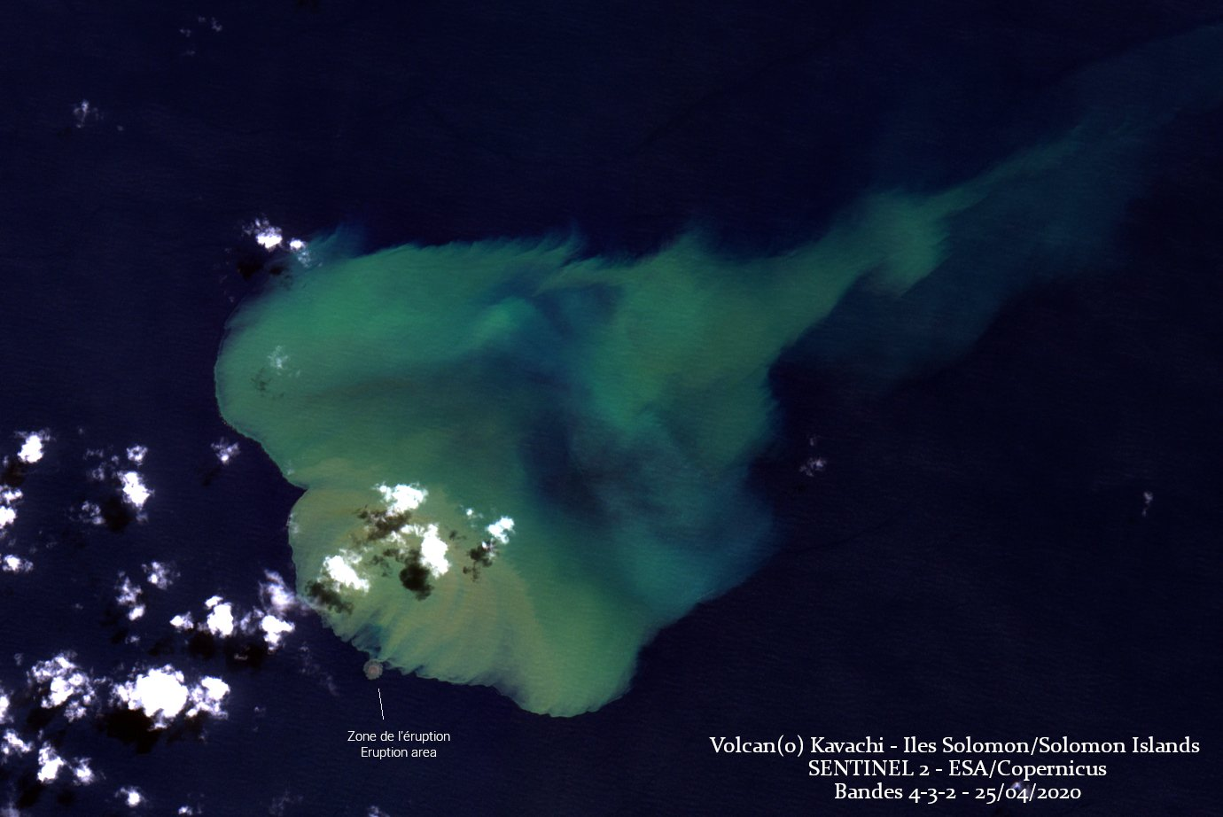 Discolored water around the Kavachi volcano (image: @CultureVolcan/twitter)