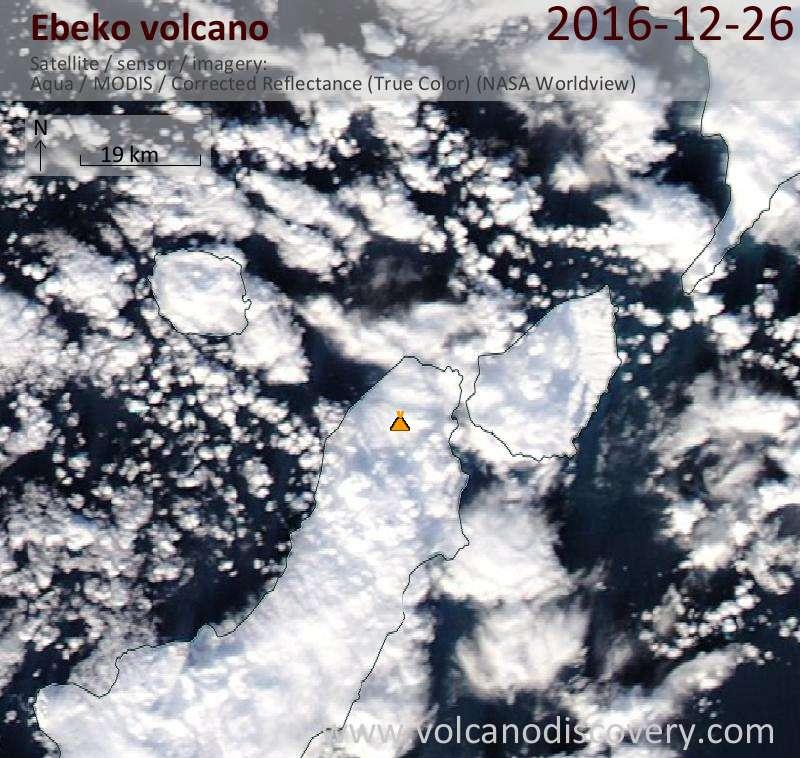 Satellite image of Ebeko volcano on 27 Dec 2016