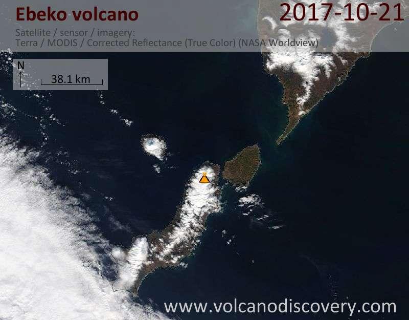 Satellite image of Ebeko volcano on 21 Oct 2017