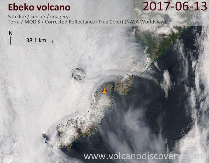 Satellite image of Ebeko volcano on 13 Jun 2017
