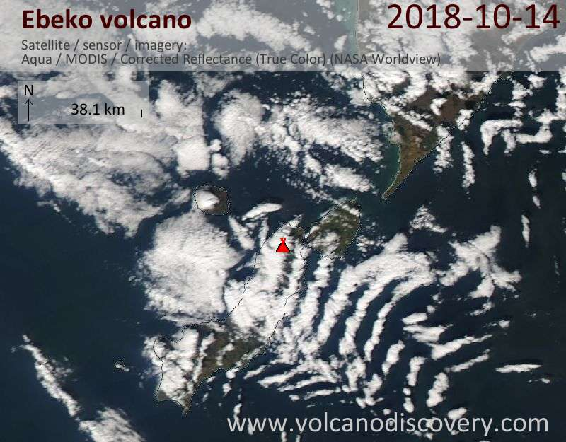 Satellite image of Ebeko volcano on 14 Oct 2018