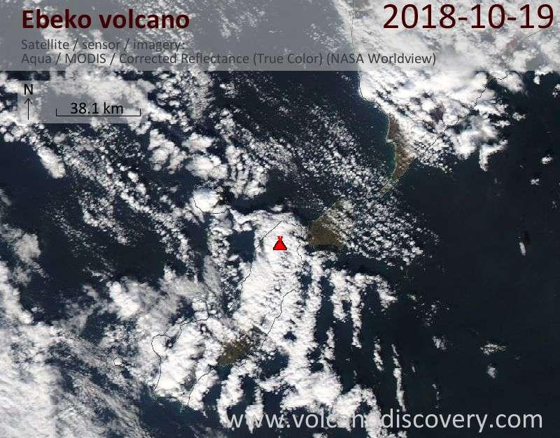 Satellite image of Ebeko volcano on 19 Oct 2018