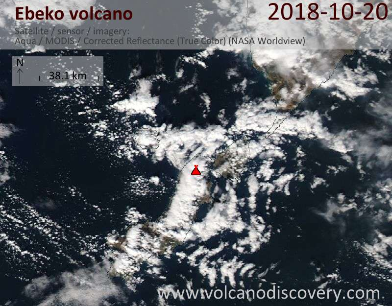 Satellite image of Ebeko volcano on 20 Oct 2018