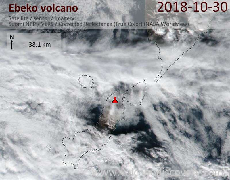 Satellite image of Ebeko volcano on 30 Oct 2018