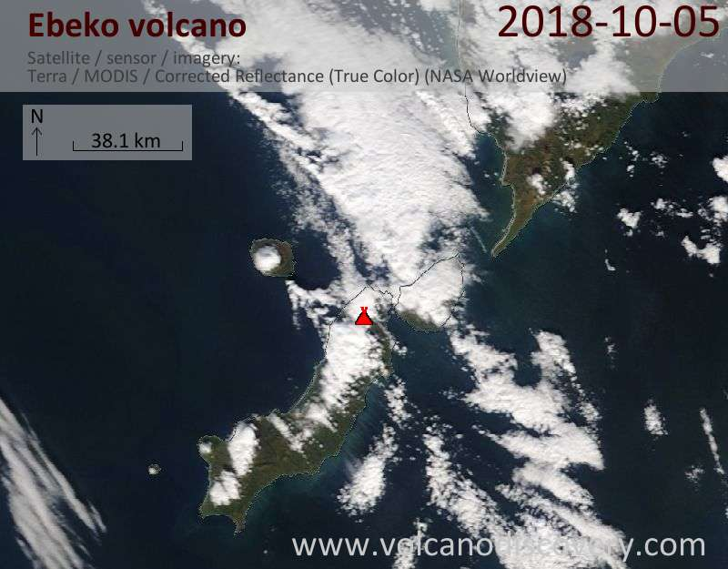 Satellite image of Ebeko volcano on  5 Oct 2018