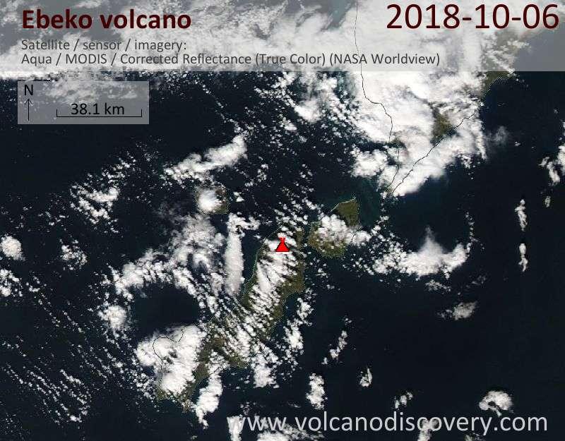 Satellite image of Ebeko volcano on  7 Oct 2018