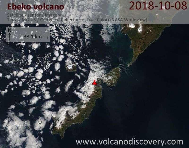 Satellite image of Ebeko volcano on  8 Oct 2018