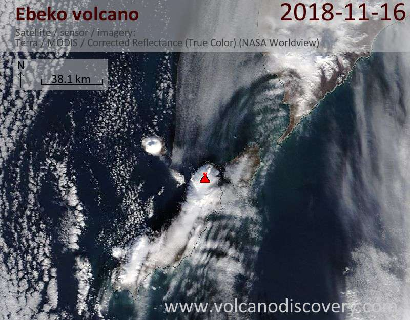 Satellite image of Ebeko volcano on 16 Nov 2018