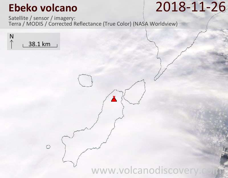 Satellite image of Ebeko volcano on 26 Nov 2018