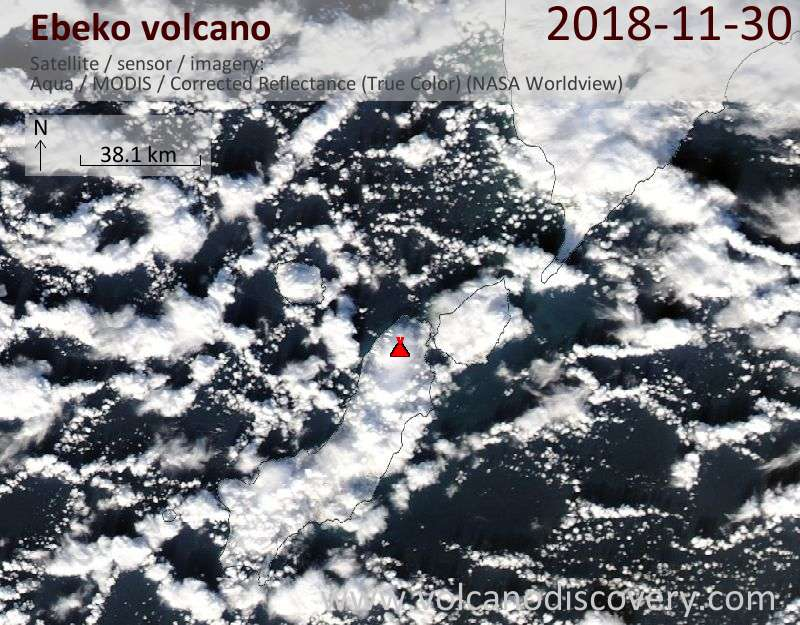 Satellite image of Ebeko volcano on 30 Nov 2018