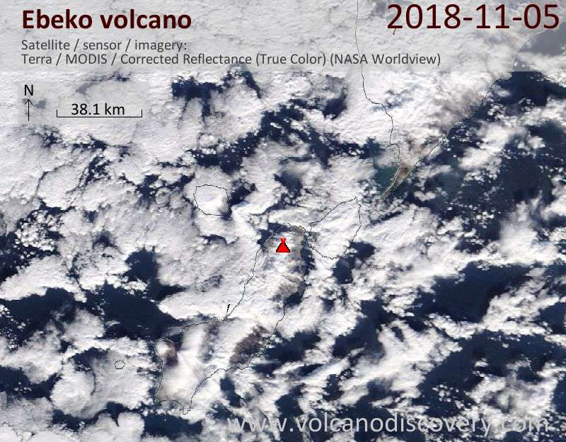 Satellite image of Ebeko volcano on  5 Nov 2018