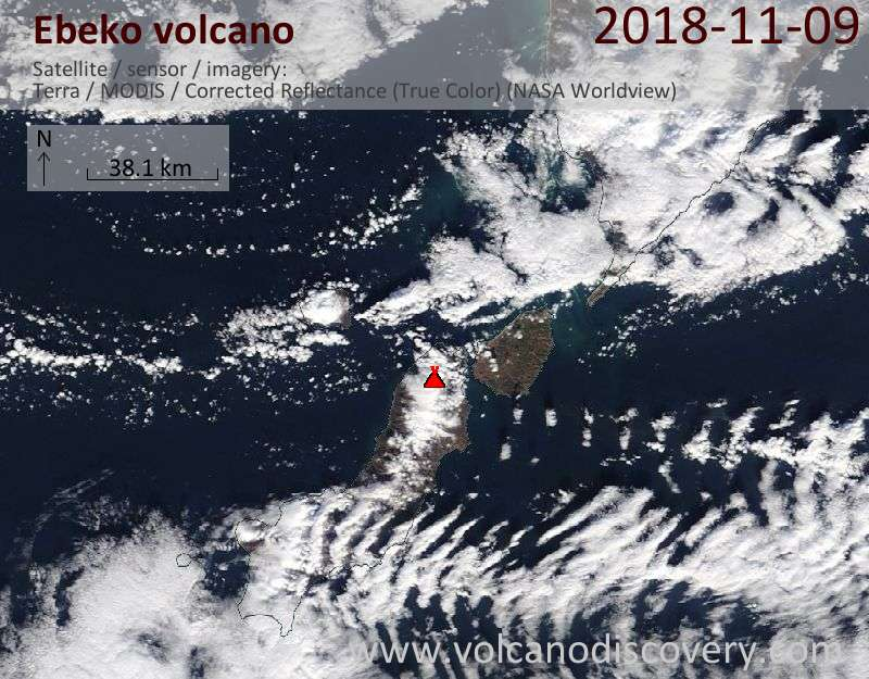 Satellite image of Ebeko volcano on  9 Nov 2018