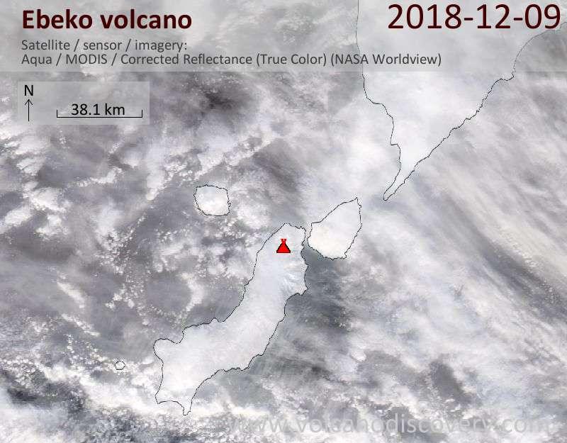 Satellite image of Ebeko volcano on 10 Dec 2018