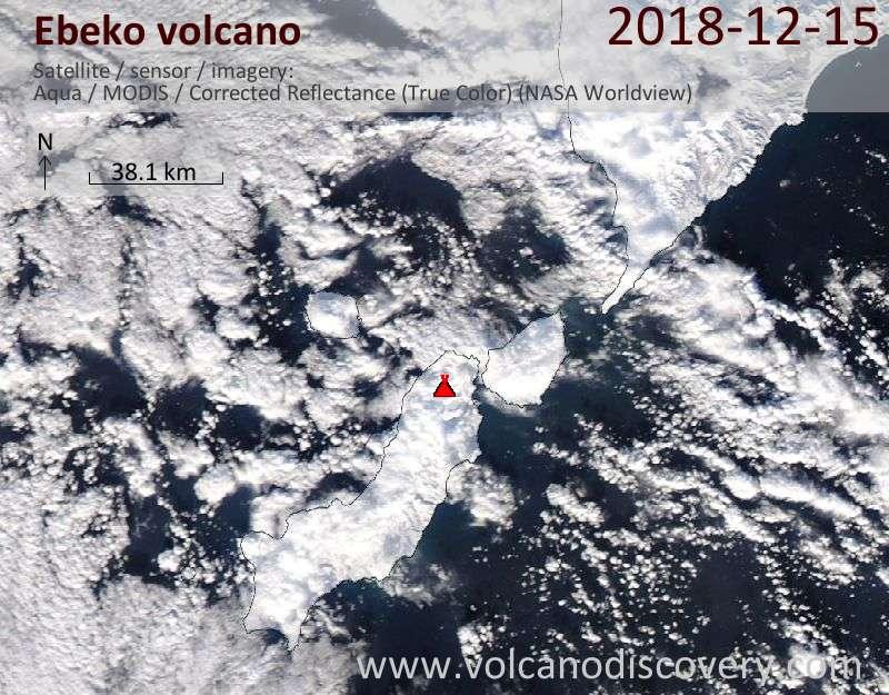 Satellite image of Ebeko volcano on 15 Dec 2018