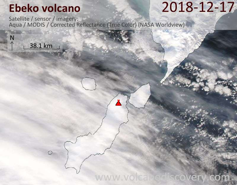 Satellite image of Ebeko volcano on 18 Dec 2018