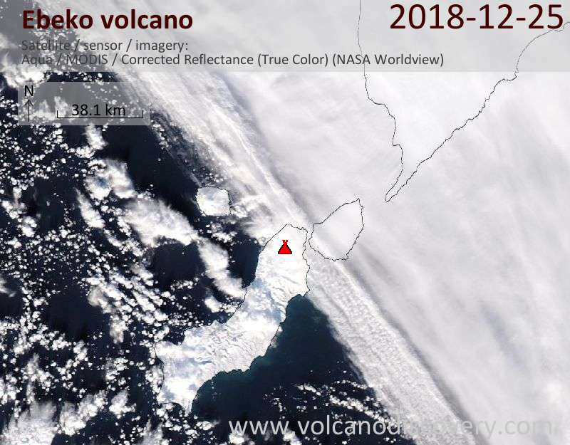 Satellite image of Ebeko volcano on 25 Dec 2018