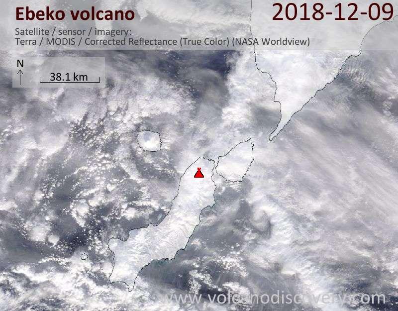 Satellite image of Ebeko volcano on  9 Dec 2018