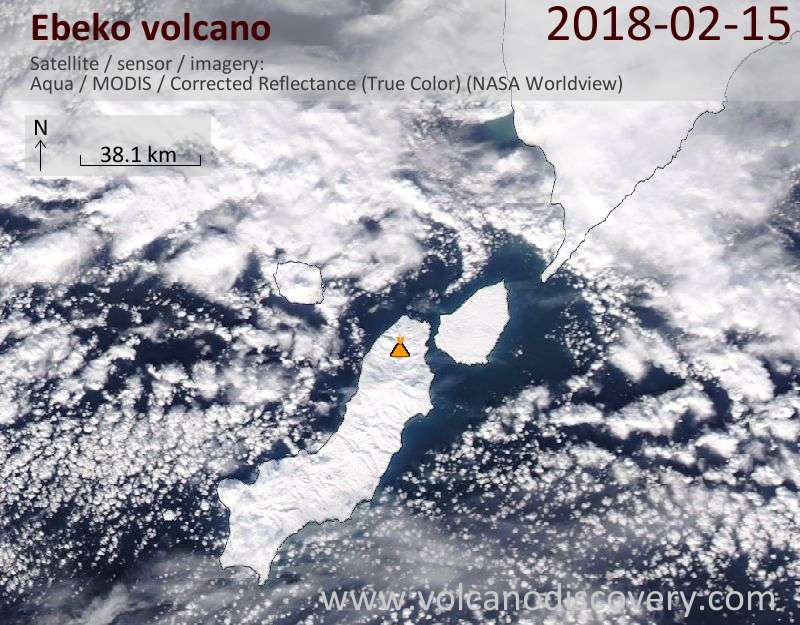Satellite image of Ebeko volcano on 15 Feb 2018