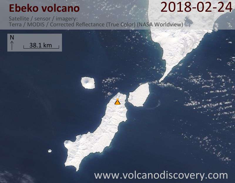 Satellite image of Ebeko volcano on 24 Feb 2018