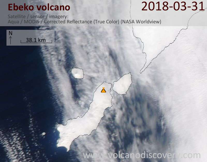 Satellite image of Ebeko volcano on 31 Mar 2018