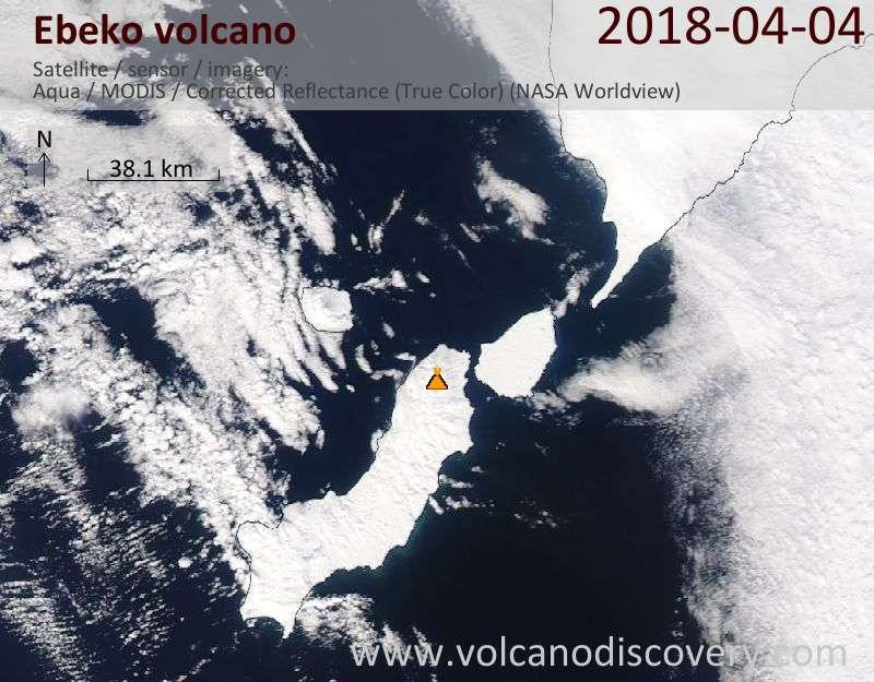 Satellite image of Ebeko volcano on  4 Apr 2018