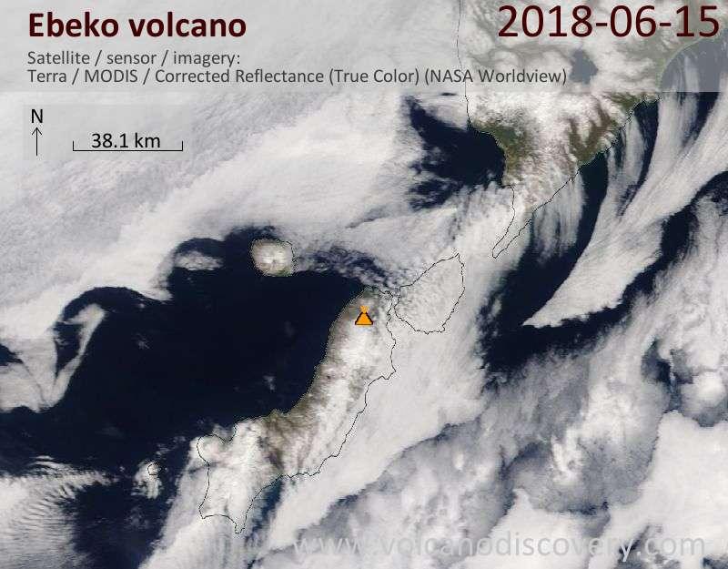 Satellite image of Ebeko volcano on 15 Jun 2018