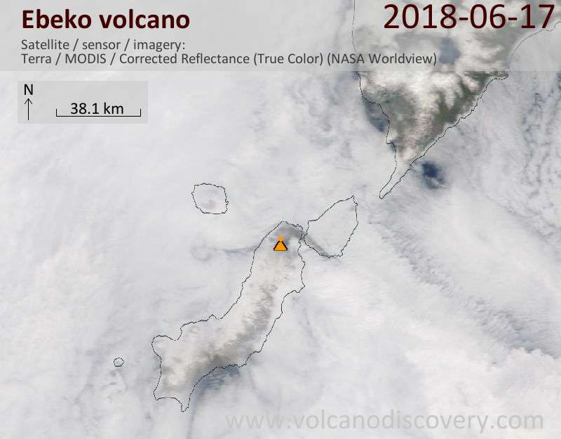 Satellite image of Ebeko volcano on 17 Jun 2018