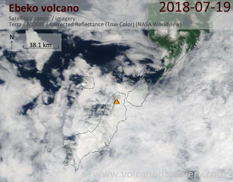 Satellite image of Ebeko volcano on 19 Jul 2018