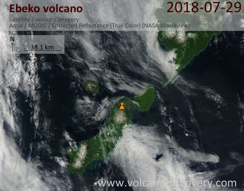 Satellite image of Ebeko volcano on 29 Jul 2018