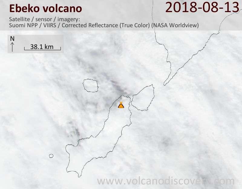 Satellite image of Ebeko volcano on 13 Aug 2018