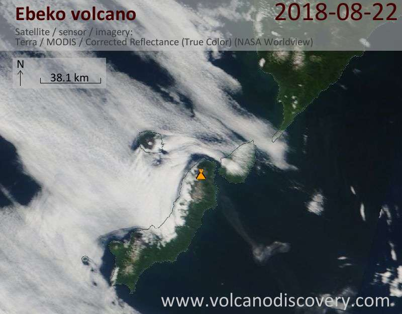 Satellite image of Ebeko volcano on 22 Aug 2018