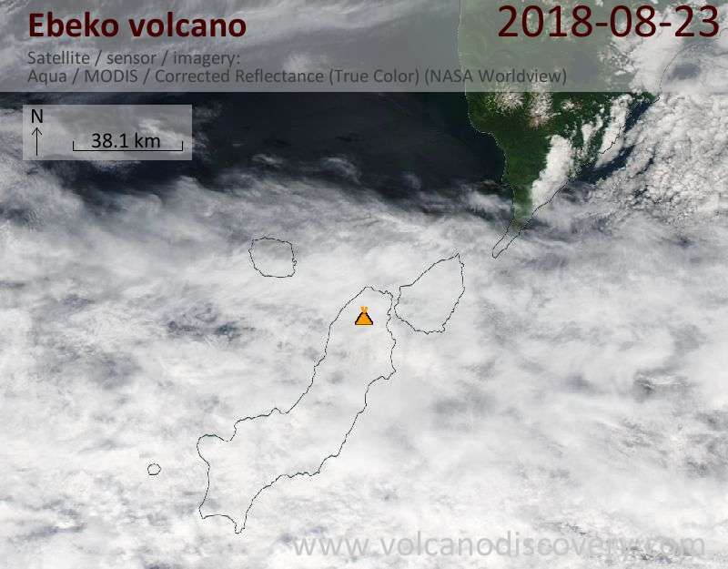 Satellite image of Ebeko volcano on 23 Aug 2018