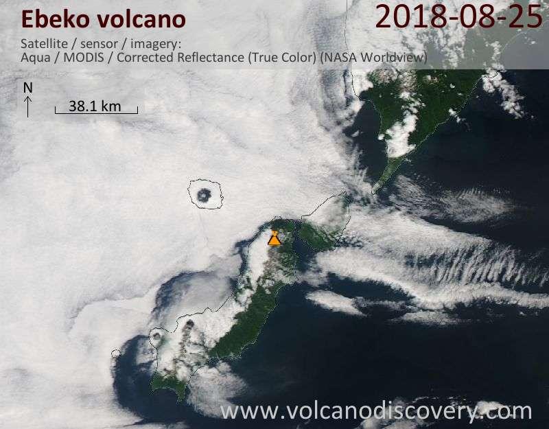 Satellite image of Ebeko volcano on 25 Aug 2018