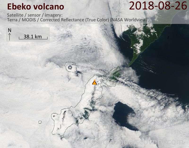 Satellite image of Ebeko volcano on 26 Aug 2018