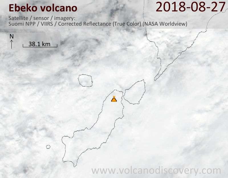 Satellite image of Ebeko volcano on 27 Aug 2018