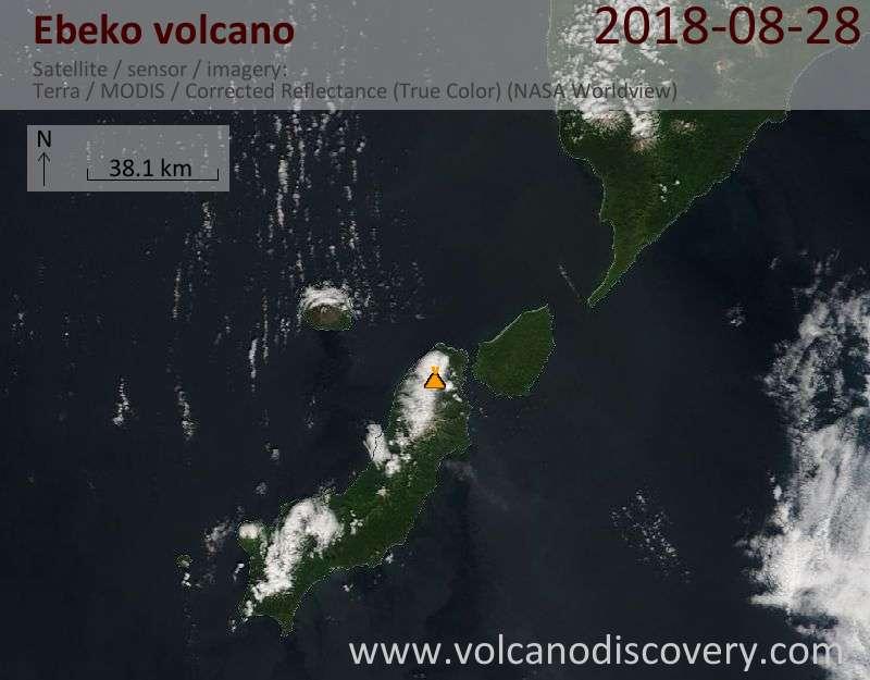 Satellite image of Ebeko volcano on 28 Aug 2018