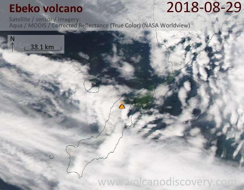 Satellite image of Ebeko volcano on 29 Aug 2018